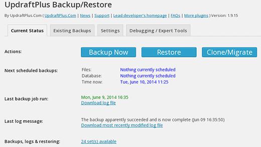 updraftplus settings wordpress backup plugin