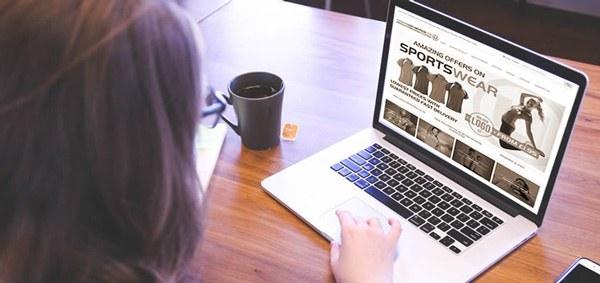 Sportswear on laptop